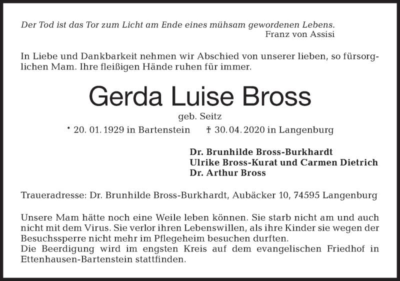 Traueranzeige für Gerda Luise Bross vom 06.05.2020 aus Hohenloher Tagblatt